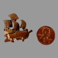 Vintage TYNIETOY Copper DOLLHOUSE Miniature Model Ship