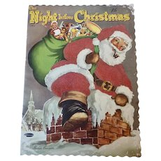 "Vintage 1953 9""x 12"" 'Night Before CHRISTMAS' Flocked Whitman Book"