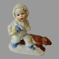 Rare 1920's Putz bisque GERMAN Hertwig Snow Babies Olympic Torch BEAR