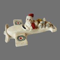 Rare 1920's Putz bisque GERMAN Hertwig Snow Babies SANTA in Royal Air Corps AIRPLANE