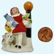 Rare 1920's Putz bisque GERMAN Hertwig Snow Babies GIRL w Scottie DOG Present LAMP POST Christmas