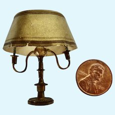 Rare 1920-30's Artisan BRASS Dollhouse Miniature BOUILLOTTE Table LAMP Museum Piece