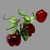 Vintage CZECH Glass Miniature GLASS Fruit APPLES for DOLLHOUSE or Doll from Chandelier