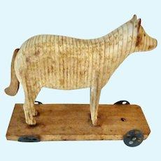 Rare Antique 'Unpainted' GERMAN Erzgebirge Miniature Toy Pull WOLF on Wheeled Platform for Dollhouse DOLL Noahs Ark