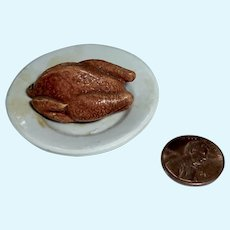 Antique 1890's FRENCH Tragant TURKEY Food on Ironstone PLATE