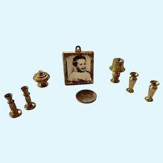 Vintage BRASS 'Lee' Dollhouse Miniature Living Room SET Dolly Dear