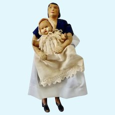 RARE 1938-45 Fred BRAITLING 'True Family Real People' NANNY & BABY Rubber Dollhouse Doll