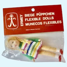 Vintage NEW Old Stock GERMAN Erna Meyer handmade ERMEY Dollhouse Miniature 'Girl' DOLL