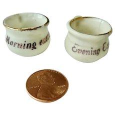 Vintage GERMAN 'Morning & Evening Exercises' Dollhouse Miniature Porcelain Chamber POTS