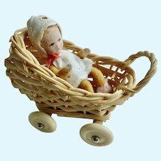 Vintage GERMAN Erna Meyer Dollhouse Miniature Baby in Wicker STROLLER