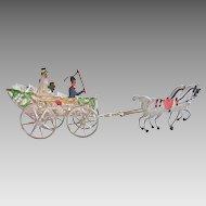 Rare GERMAN Schweizer Pewter WEDDING Horse Drawn Carrriage