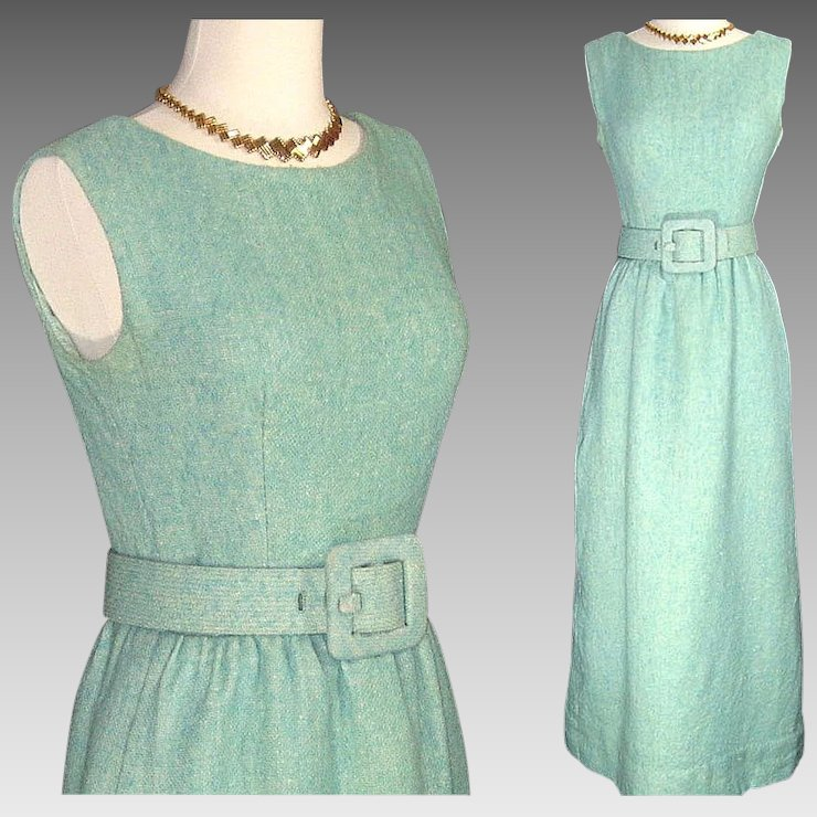Vintage Couture Norman Norell \'Tiffany Blue\' Wool Boucle Dress w ...