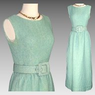 Vintage Couture Norman Norell 'Tiffany Blue'  Wool Boucle Dress w Wrap