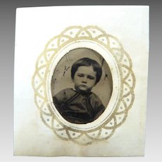 Sweet Miniature Framed GEM Tintype Young Boy Perfect for DOLLHOUSE