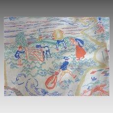 1925 Cretonne NURSERY RHYME Linen FABRIC Victoria Albert Museum