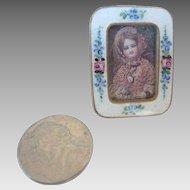 TINY 1920's Miniature Doll House Czech  ROSE Garland ENAMEL Easel FRAME