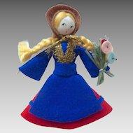 "Charming 1920's-40 Handmade 4"" Felt & Silk Button Doll"