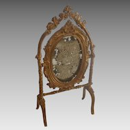 Antique GERMAN Dollhouse Miniature Gold Gilt Metal MIRROR Stand