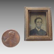 Antique DOLLHOUSE Miniature Gilt Gold FRAMED Young Man GEM Tintype Photo ~Ready to hang~