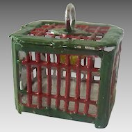 Antique GERMAN Miniature Dollhouse BIRD CAGE Tin Penny TOY Red/Green
