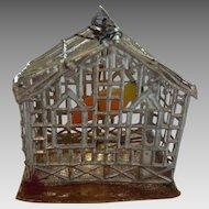 Antique GERMAN Miniature Dollhouse BIRD CAGE w WAX Parrot