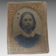 Antique DOLLHOUSE Miniature GEM Young Woman FRAMED Tintype Photo