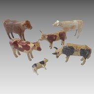 Rare Antique 1800-50 GERMAN Erzgebirge Hand Carved PUTZ Cows for DOLL Dollhouse Nativity ~Museum Worthy~