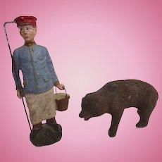 Rare 1800's GERMAN Erzgebirge PUTZ Menagerie ZOOKEEPER Bear Dollhouse ~Museum Worthy~