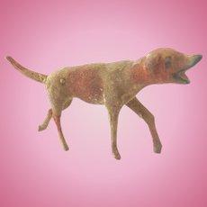 Rare Antique 1880-90 ERZGEBIRGE Putz GERMAN Mass Flocked DOG for DOLL HOUSE ~Museum Quality~