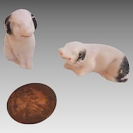 Sweet Antique GERMAN PUTZ Miniature Dollhouse Bisque PIGS Figurines Marked