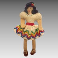 "Vintage 1930's Miniature 3.5"" Handmade SPANISH Felt Cloth DOLL"