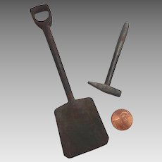 Antique DOLL Sized Miniature Hand Forged Cast Iron TOOLS Shovel Hammer