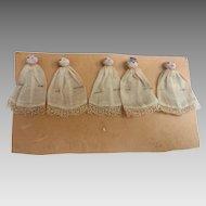 "Handmade Miniature 2"" Dionne Quintuplet 1934 Buttonhead DOLLS Lace Gowns"