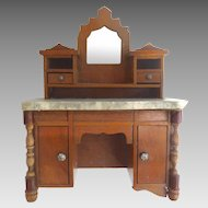 Antique GERMAN Schneegas Dollhouse Mirrored Bureau Cabinet w MARBLE Top