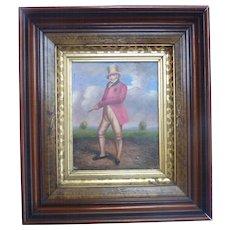 Antique Regency Era GOLF Portrait OOB Oil on Board FRAMED in Ornate Lemon Gold Frame