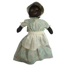 Rare Antique MAINE Black Americana Folk Art STOCKINETTE Cloth RAG Puppet DOLL w Embroidered Face