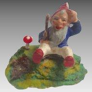 Antique GERMAN Erzgebirge PUTZ Santa's ELF Gnome for Doll house Santa's Workshop FAIRY House Sitting with Mushroom