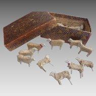 11 Primitive Antique mid 1800's GERMAN Erzgebirge Hand Carved Wooly PUTZ Stick Leg SHEEP Doll  Dollhouse NATIVITY