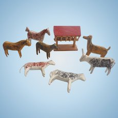 Old GERMAN Erzgebirge Hand Carved PUTZ Animals COWS Horses DEER for DOLL Dollhouse Nativity