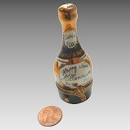 French LIMOGES Hand Painted NEW YEARS Limited Edition Hand PAINTED Miniature Porcelain Champagne Bottle BOX for French Fashion DOLL Dollhouse