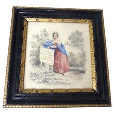 Antique GEORGIAN Original Watercolor PAINTING Young GIRL w Literary Verse