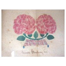 American School Girl 1854 Signed THEOREM Stenciled ROSE Painting Pennsylvania GERMAN