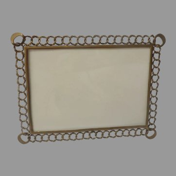 """Large 12"""" ENGLISH Brass Wedding Ring CONVERTIBLE D.R.G.M. Picture Easel Frame"""