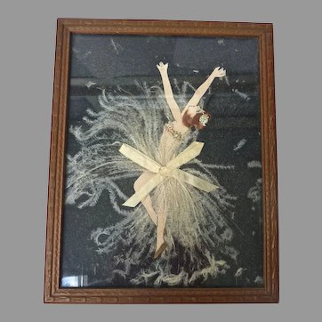 Art Deco 1920's Ribbon Paper DOLL Flapper Dancer w Feathers PICTURE