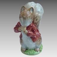 BESWICK Beatrix Potter GOLD Oval BP2 Figurine Brown/grey w RED Jacket