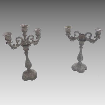 Antique Pair GERMAN Pewter Dollhouse Miniature CANDELABRA