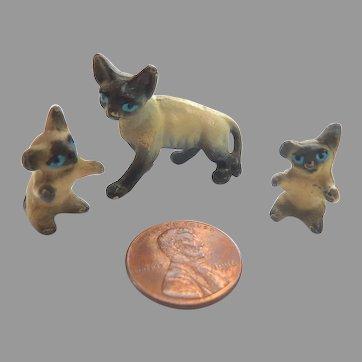 Vintage Set of 3 Dollhouse Miniature GERMAN Metal SIAMESE CATS