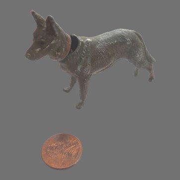 RARE GERMAN Cold Painted Metal HEYDE Bobble Head NODDER German Shepard DOG ~as is~