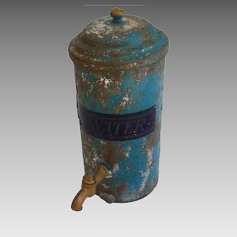 Rare German MARKLIN Blue Tin ICE WATER Cooler for Dollhouse or Doll