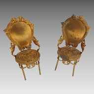 Antique GERMAN Erhard & Sohne DOLL HOUSE Miniature Ormolu NOUVEAU Chairs